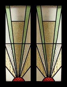 Art Deco Stained Glass Windows | ... Best Art Deco Sunburst Stained Glass Sidelight Pair of Windows | eBay