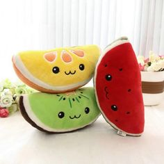 Fruit Wedge Plushies from cutesycrap.com   Nothing snarky for once... just wholesome-looking fruit wedges to rest your brain-bowl on.  Orders $30+ USD get free shipping!