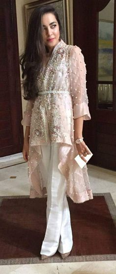 Organza Jacket -Pastel Pink Layered Jacket with Belt & Ivory Silk Bell Bottom Trouser – Hijab Fashion 2020 Dress Indian Style, Indian Dresses, Indian Wear, Pakistani Outfits, Indian Outfits, Kebaya Dress, Dress Brokat, Party Kleidung, Hijab Style