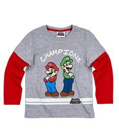 9a53d3f8 Nintendo Super Mario Bros Boys Long Sleeve Cotton Top, T-Shirt 3-10