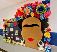 # daycare bulletin boards Spanish Bulletin Board - Frida Kahlo art and culture lesson Spanish Bulletin Boards, Art Bulletin Boards, Colorful Bulletin Boards, March Bulletin Board Ideas, Middle School Art, Art School, School Today, High School, Art Classroom Decor