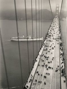 Golden Gate bridge, opening day, 1937.