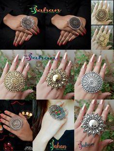 Indian Jewelry Earrings, Indian Jewelry Sets, Jewelry Design Earrings, Silver Jewellery Indian, Hand Jewelry, Bridal Jewelry, Silver Jewelry, Silver Ring, Silver Earrings