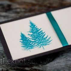 wedding invites teal and copper with tree | Emily and her sister created the wedding invitations out of cardstock ...