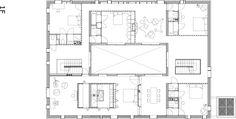 NL architects garden house second floor plan. circulation created through transparency of the garden