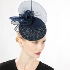 Jane Taylor Millinery AW 2014 Claro- beaded silk cocktail hat with silk tulle discs & organdy