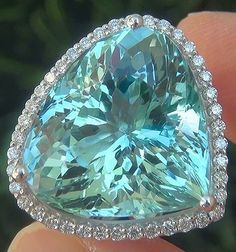 GIA 20.26 ct FLAWLESS Natural Aquamarine Diamond 14k White Gold Cocktail Ring