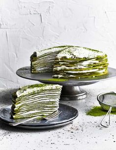 This matcha mille crêpe cake looks really impressive but is also easy to make. Create this beautiful green tea inspired cake using layers of crepes and custard cream and dust with some matcha powder to finish