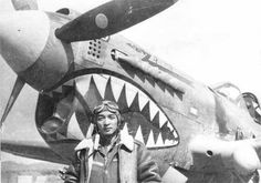 Chinese pilot Kung Chen of 27 Squadron Yoh scavenger hunt 5 hunting party of Mixed Chinese-American Wing (provisional) with his P-40 Warhawk fighter, China, 1943-1945