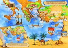 Mapas De Viajes De Pablo   Mapa de los viajes de San Pablo - Emilio Lopez - Ilustración - 73380