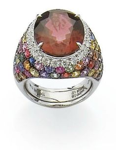 RING TOURMALINE, SAPPHIRE AND DIAMOND COLOR BY MARGHERITA BURGENER.