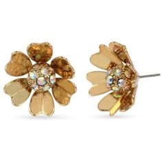 Betsey Johnson Yellow Gold-Tone Metal Flower Stud Earrings ($25) ❤ liked on Polyvore featuring jewelry, earrings, yellow, betsey johnson earrings, sparkly earrings, flower jewelry, pave jewelry and yellow earrings