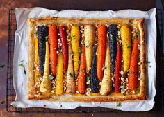 For a showstopping vegan main, try this delicious tart made with seasonal veg and topped with crunchy hazelnuts
