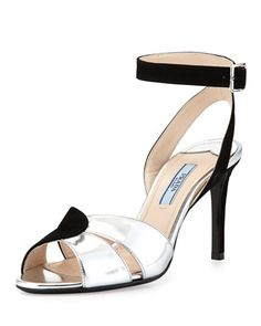 """Prada  Suede and Metallic Ankle-Wrap Sandal  Prada two-tone suede and metallic leather sandal. 3 1/2"""" covered heel. Cutouts at vamp. Adjustable ankle strap; slingback. Leather lining and sole. Made in Italy."""