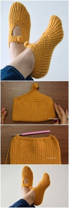 Crochet Pocketbook Slippers Tricot et Crochet Crochet Pocketbook Slippers Booties Crochet, Knitted Slippers, Crochet Slippers, Crochet Beanie, Knit Crochet, Slipper Socks, Ravelry Crochet, Crochet Slipper Pattern, Crochet Crafts