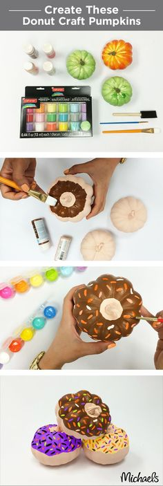 A donut lover's dream! Turn mini craft pumpkins into glazed sprinkle donuts with craft paint. Find all you need for this project at your local Michaels store.