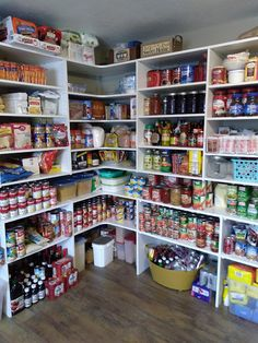 pantry shelving The Bluebirds are Nesting. Pantry Shelving, Pantry Storage, Kitchen Storage, Diy Storage, Food Storage, Storage Ideas, Small Pantry, Walk In Pantry, Large Pantry Ideas