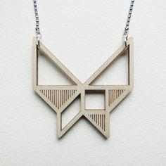 Tangram butterfly necklace Laser cut from birch wood Geometric pendant Gift boxed