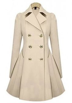 Apricot Plain Double Breasted Trench Coat
