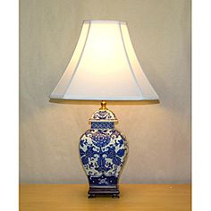 @Overstock - Give any room a look of elegance with these blue-and-white temple jar table lamps. The double-lined silk shade of these lamps enhances their air of sophistication, and a convenient three-way switch provides you with just the right amount of light.http://www.overstock.com/Home-Garden/Blue-and-White-Mum-Square-Temple-Jar-Table-Lamp/5814234/product.html?CID=214117 $146.69