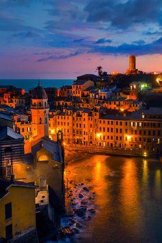 Vernazza at night, Cinque Terre, Liguria, Italy