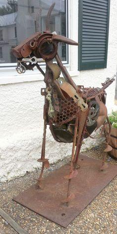"""Jonathan Bowling """"Big Goat"""" Welded re purposed steel & found objects x x Scrap Metal Art, Welding Art, Recycled Art, Garden Art, Sheep, Goats, Art Gallery, Creative, Metal Sculptures"""