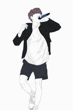 Bangtan Lineart Outline Drawings, Bts Drawings, Pencil Art Drawings, Character Illustration, Illustration Art, Illustrations, Dog Comics, Man Sketch, Cartoon Fan