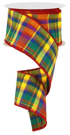 2.5 Red Plaid Ribbon Plaid Primary Ribbon Red by CustomWreathDecor
