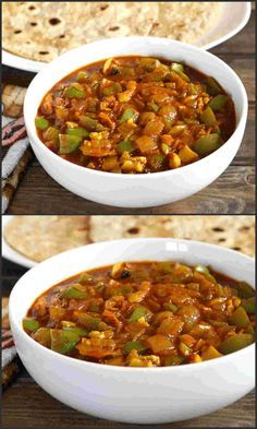 Onion Capsicum Masala is a vegan, spicy and a delicious recipe prepared in less than 20 minutes and can be served as side dish with steamed rice or breads. Paneer Recipes, Veg Recipes, Curry Recipes, Indian Food Recipes, Vegetarian Recipes, Cooking Recipes, Punjabi Recipes, Andhra Recipes, Pasta Recipes