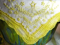 Vintage Handkerchief Hankie Embroidered Hand Made in Madeira Portugal Yellow White Linen