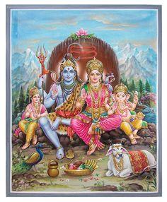 shiv parvati - Poster colour on Paper