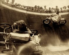 Circa 1929, Wall of Death, Revere Beach, MA.  What's with the lion in the sidecar?