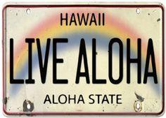 Amazon.com: Live Aloha Hawaii License Plate - Tin Sign Postcard - Vintage Hawaiian Style: Home & Kitchen