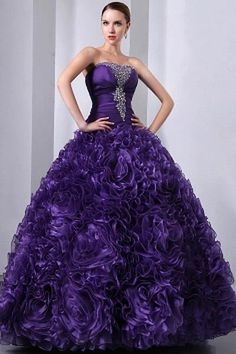Purple Organza Sweetheart Homecoming Gowns #ShopSimple