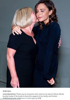 Mummy Spice: Victoria Beckham seemed thrilled to be reunited with her doting mother, Jackie Adams, as the pair cuddled up for a sweet snap on Friday