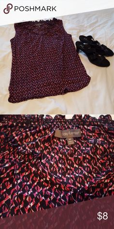 🎁Cute pink and black dressy Tank Top Super comfy.  Has sweet little V Neckline.  Little ruffles around the neckline too.  Stretchy.  Colors are hot pink, black and white.  Too cute to pass this one up.  Size M.  I wore this being a size 10 and 12.  Worn a handful of times.  Great condition. Daisy Fuentes Tops Tank Tops