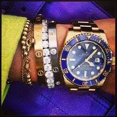 Rolex and Cartier bracelet stack | tumblr