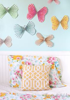 How To Make Paper Butterflies. These ones are especially cute because they have beads on them! Easy enough for kids to make too!