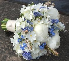 White peonies, Muscari, Narcissus, beautiful...Planet Flowers