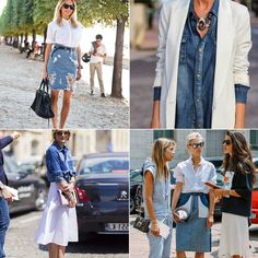 necklace with denim.  Patched denim skirt with white shirt