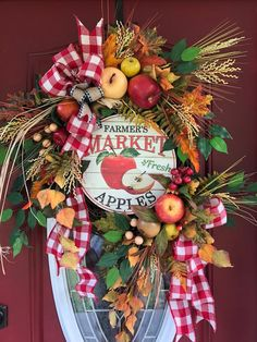 Your place to buy and sell all things handmade Fall Wreaths, Christmas Wreaths, Apple Wreath, Apple Farm, Summer Wreath, Wreaths For Front Door, Different Shapes, Farmhouse Decor, The Incredibles