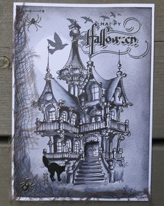 Galleries :: Customer Inspiration :: Autumn & Winter :: Inspiration Gallery :: Clean & Simple (CAS) :: Return to previous page :: Spooky House - Digital & Rubber Stamps for Every Scene - Make it Crafty