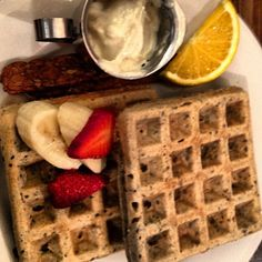 Vegan Super-Seed Waffles, Tempeh Bacon and Tofu Whip from Organic Grill