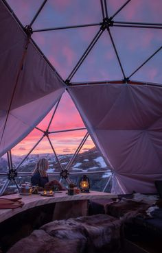 Breathtaking views from our Artic Dome Tent. Stay overnight at Trolltunga, Norway. Purple Sunset, Stay Overnight, Dome Tent, Public Transport, Norway, Places To Go, Sunrise, Tours, Adventure