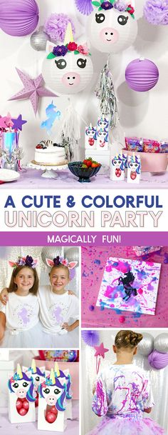 A cute and colorful unicorn party! With free printables, cut files, decoration and activity ideas! Diy Unicorn Party, Unicorn Crafts, Birthday Party Games, Unicorn Birthday Parties, Birthday Ideas, 12th Birthday, Birthday Cake, Diy Birthday Decorations, Party Activities