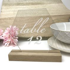 Clear Hexagon Table Number - Acrylic with Timber Base - Printed Wedding Table Decoration - Cafe Restaurant Beach Wedding Guests, Beach Wedding Decorations, Table Decorations, Engraved Wood Signs, Acrylic Table, Hexagon Shape, Wedding Table Numbers, Wedding Styles, Wedding Ideas