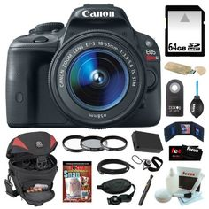 Canon EOS Rebel SL1 18MP Digital SLR with 18-55mm EF-S IS STM Lens and 3-inch Touch Screen + 64GB SDHC + Replacement...