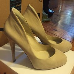 """Aldo High Heels Aldo Fawson light tan leather high heels with high back. This is a reposh for me, they're so beautiful, but too small  these are an Aldo 10, which is a European size 41. Never worn by me. Heel is 5"""" with a 1"""" platform for comfort. Comes in box and with an extra set of heel taps as pictured in the fourth picture. ALDO Shoes Heels"""