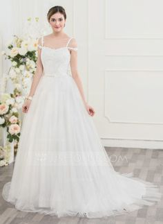 Ball-Gown Sweep Train Beading Sequins Bow(s) Zipper Up Regular Straps Sleeveless Church General Plus No Winter Spring Summer Fall Ivory Tulle Lace Height:5.7ft Bust:33in Waist:24in Hips:34in US 2 / UK 6 / EU 32 Wedding Dress