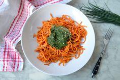 Süßkartoffelspaghetti mit Grüner Kräutersauce für Tchibo